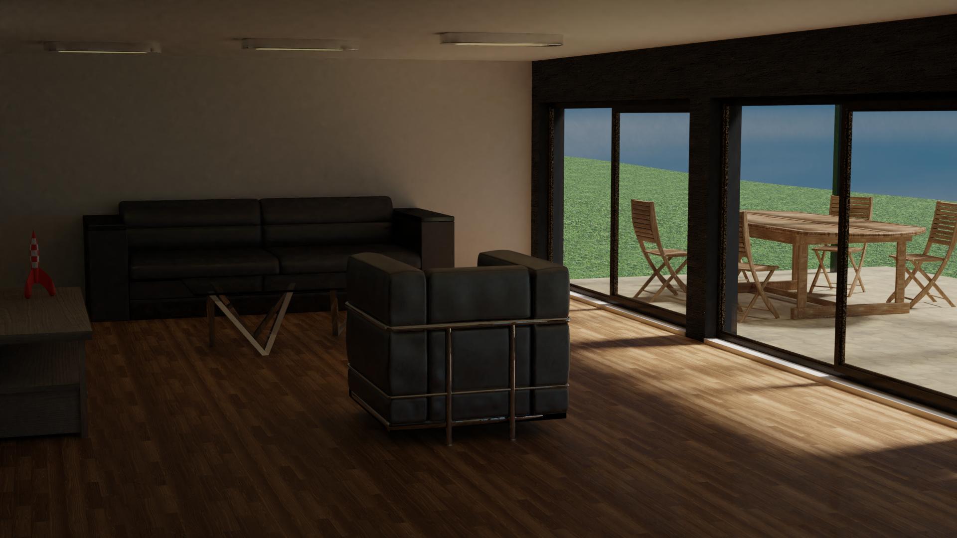 Intérieur effet de pergola bioclimatique, animation 3D de présentation