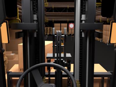 Entrepôt et chariot élévateur pour animatiuon 3D sur la sécurité