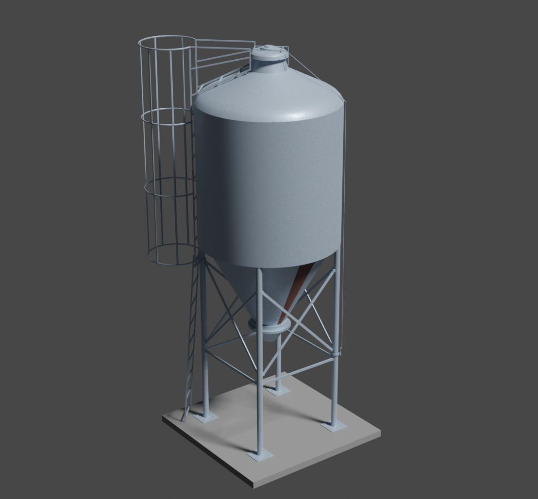 Modélisation 3D silo à grain pour une série animée 3D