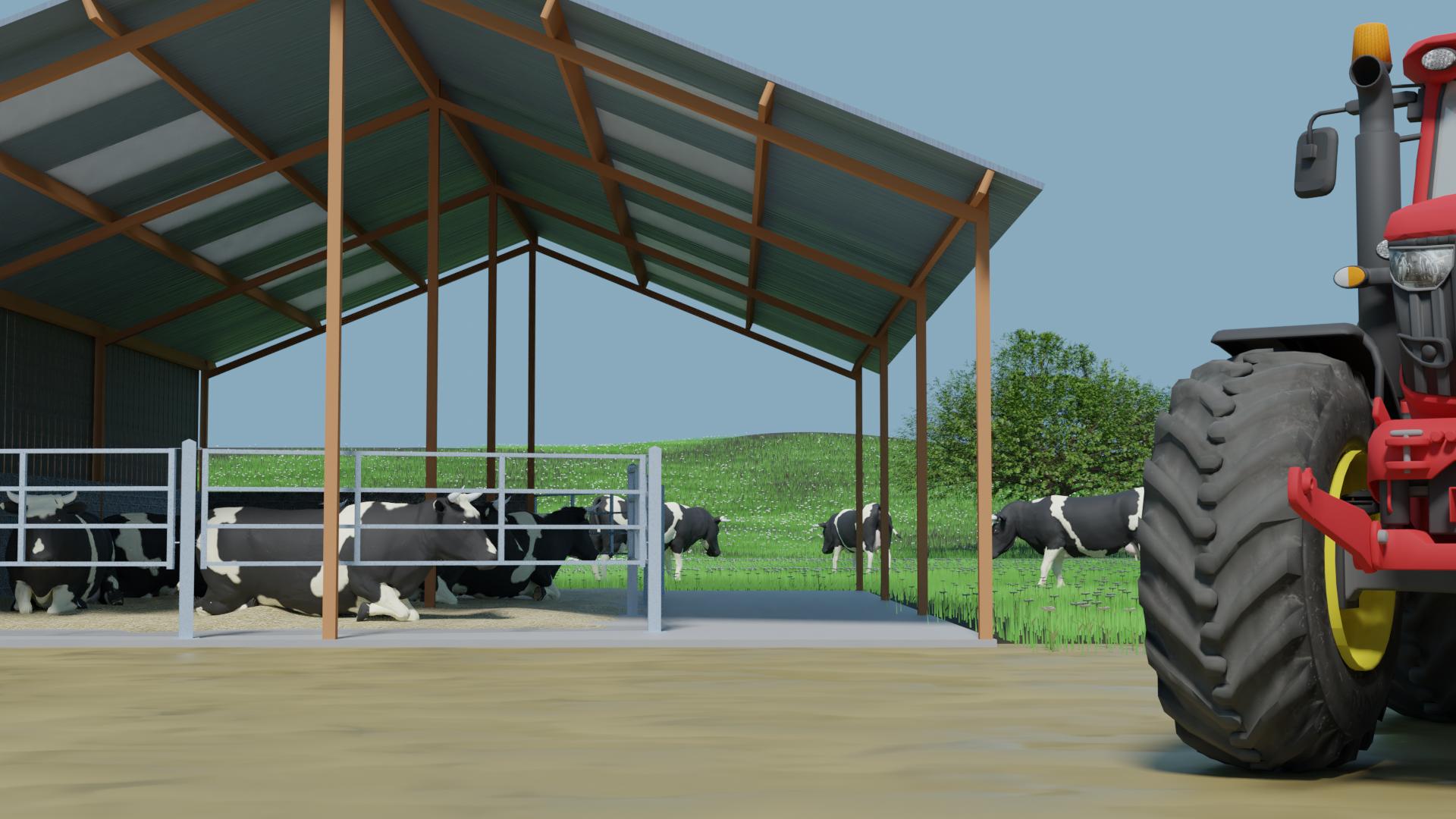 stabulation et vaches, ferme agricole pour série animée 3D