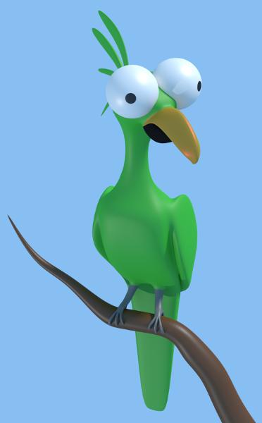 Perroquet 3D stylisé
